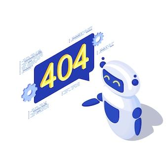 Сервер не найден, автоматическая генерация сообщений, изометрия. робот, ai помощник с 404 уведомлениями в речи пузырь. отключенный сервер, проблема с неработающей связью. неисправность веб-поиска