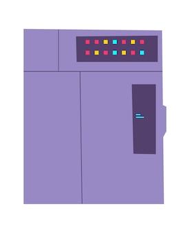 サーバーラックの漫画イラスト。情報、データベースを保存および処理するためのインターネット機器