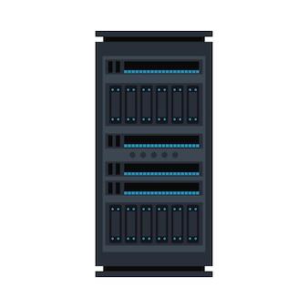 サーバーラックアイコン。データウェアハウス、ストレージセンターのハードウェア設計要素。情報技術ハブ。データベースネットワーク機器。クラウドコンピューティングホストサーバー。
