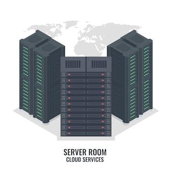Серверная стойка на фоне карты мира, серверная комната центра обработки данных