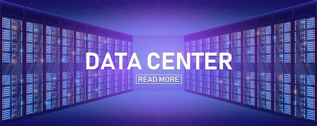 Server rack room, big data bank center background.