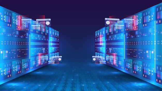 サーバールームとビッグデータ処理の概念、デジタル情報技術、ビッグデータストレージとクラウドコンピューティング技術の概念。ウェブホスティング