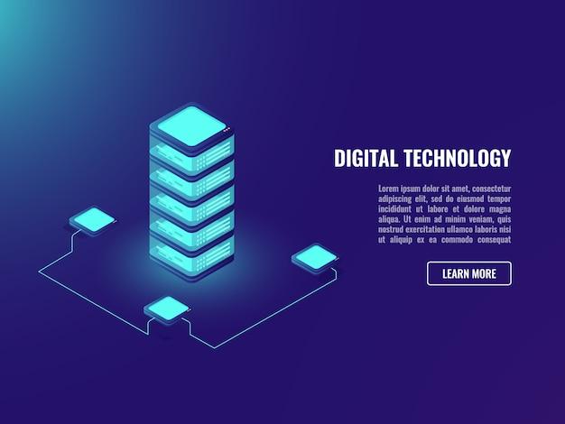 Концепция хранения серверной комнаты и данных облачных вычислений, технология освещения объекта adject, база данных
