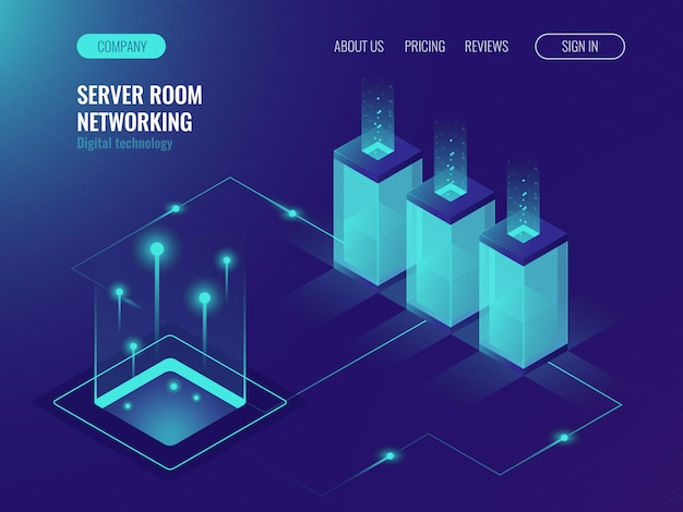 Server room banner, web hosting and processing of big data concept