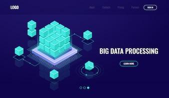 サーバールーム、ビッグデータ、クラウドコンピューティング、人工知能AI、データ処理、データベース