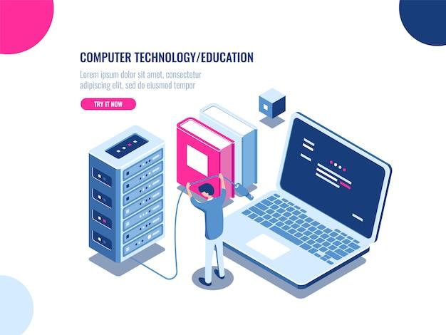 Шкаф серверной, изометрический значок центра обработки данных и базы данных, ферма серверных стоек