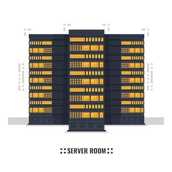 Серверная комната, дата-центр, серверная стойка