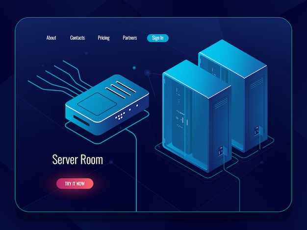 Server room, datacenter and database isometric icon, networking and internet communications