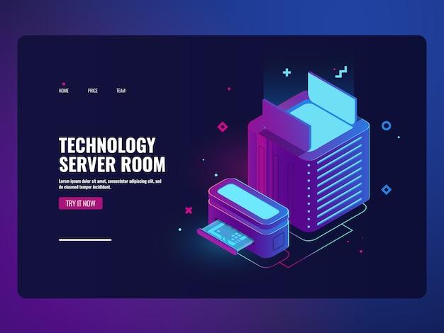 サーバールームのアイコン、データセンターとデータベースアクセスの概念、ウェブホスティング