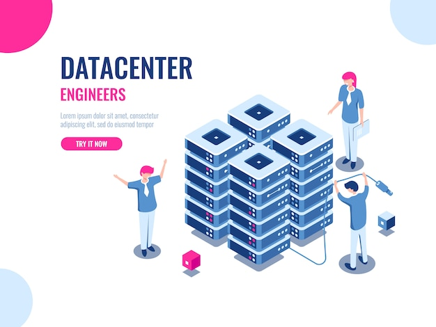 サーバールームラック、データベースとデータセンター、クラウドストレージ、ブロックチェーン技術、エンジニア、チームワーク