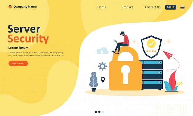 Server security system for web landing page