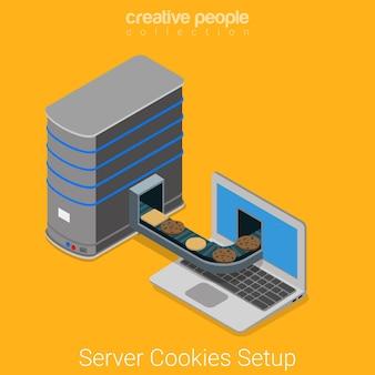 Server che invia cookie al browser del laptop dell'utente finale. cookie spia tecnologia online piatto concetto di internet isometrico