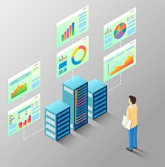 Статистика сервера вектор изометрическая схема