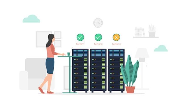 モダンなフラットスタイルとシンプルな緑色をテーマにしたサーバーステータスチェックのメンテナンスとレポート
