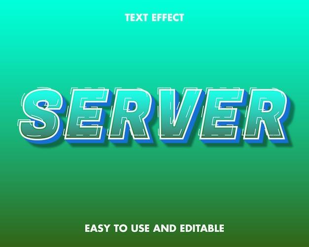 Текстовый эффект сервера. редактируемый стиль шрифта.