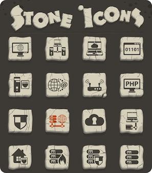 웹 및 사용자 인터페이스 디자인을 위한 석기 시대 스타일의 석기 블록에 있는 서버 벡터 아이콘