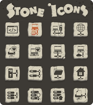 Server vector icons on stone blocks in the stone age style for web and user interface design