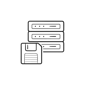 フロッピーディスクの手描きのアウトライン落書きアイコンとサーバー。データのバックアップ、データ消去、および管理の概念