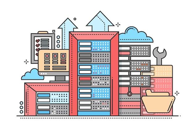 Серверы - векторная иллюстрация современного дизайна плоской линии с коммуникационным оборудованием и инструментами