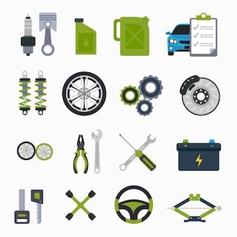 車のオブジェクトアイコンのオートディテールのサービスと修理
