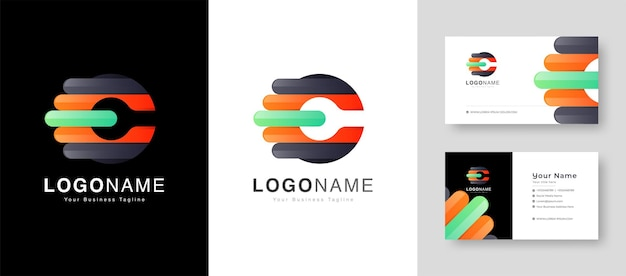 Service center initial c letter logo with premium business card