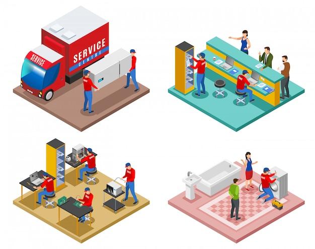 Set di composizioni isometriche 4x1 del centro servizi con immagini che rappresentano diversi servizi di supporto e assistenza post-vendita