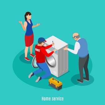 Service centre isometric background with characters of house masters and maytag repairman in uniform with text