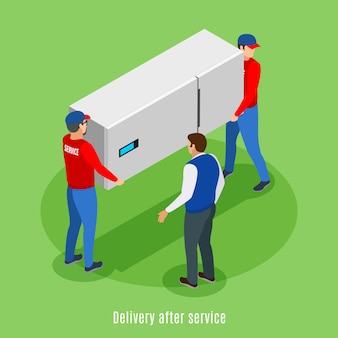 Service centre isometric background with text and human characters of servicemen carrying fridge with house master