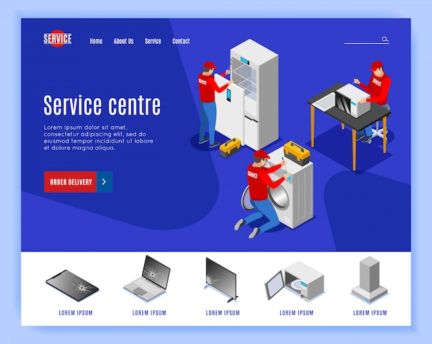 Service centre isometric landing page website design with editable text clickable links and images of items