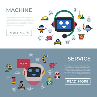 Service and cleaning home robots icons