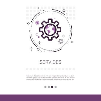 Service cogwheel support technology banner