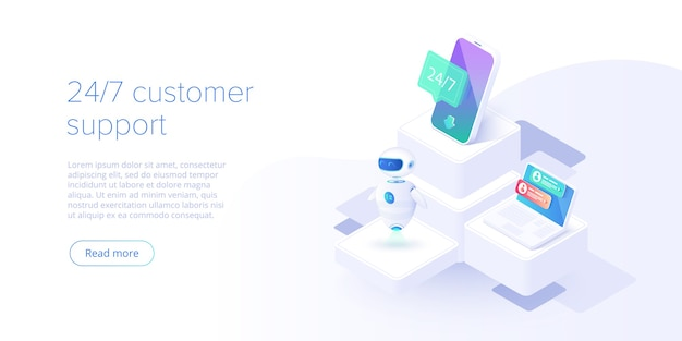 Service concept or call center in isometric