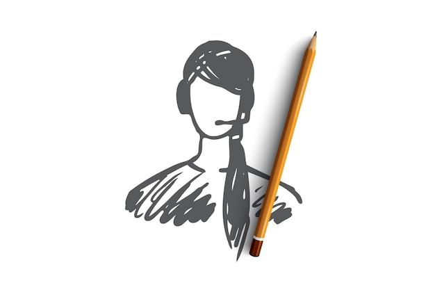 サービス、顧客、オペレーター、サポート、ヘルプの概念。手描きの女性サポートマネージャーのコンセプトスケッチ。