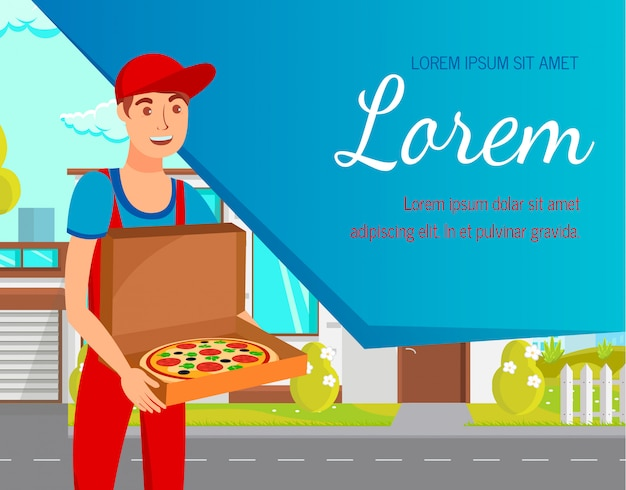 Service for food delivery flat web banner template