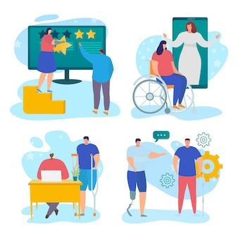 장애인을 위한 서비스 세트, 벡터 일러스트레이션, 백인 캐릭터에 격리된 서비스는 사람 작업자 근처에서 사회적 지원을 사용하고 온라인 의사의 도움을 받습니다.