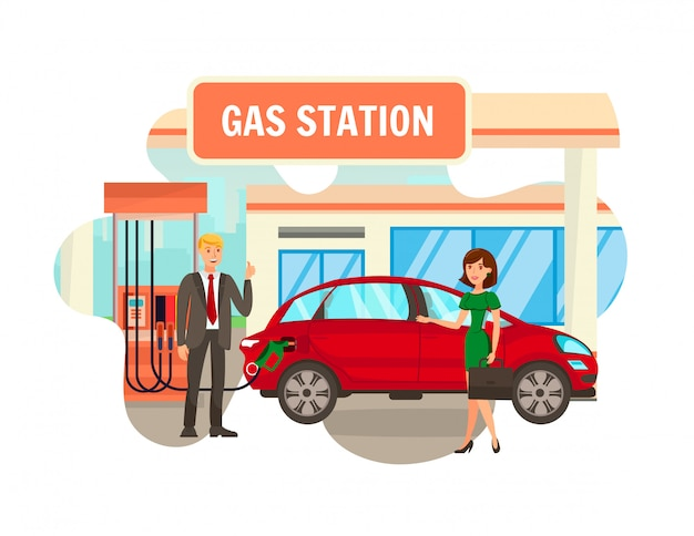 Service at gas station flat isolated illustration