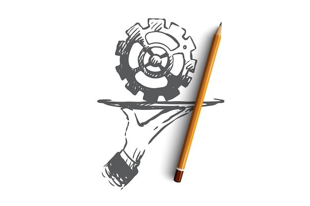 サービス、ギア、技術、修正、修理のコンセプト。技術サービスの概念スケッチのシンボルとして手描きのギア。
