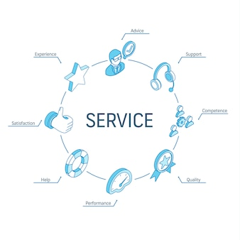 서비스 아이소 메트릭 개념입니다. 연결된 라인 3d 아이콘. 통합 원 인포 그래픽 디자인 시스템. 지원, 경험, 조언 및 도움말 기호