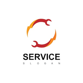 Service logo with wrench symbol