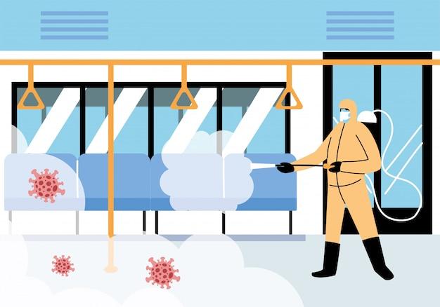 Service metro disinfection by coronavirus or covid 19