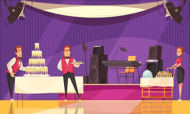 Service personnel of restaurant or cafe during banquet preparation on purple background cartoon