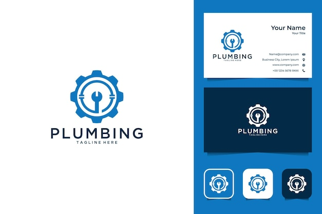 Service plumbing logo design and business card