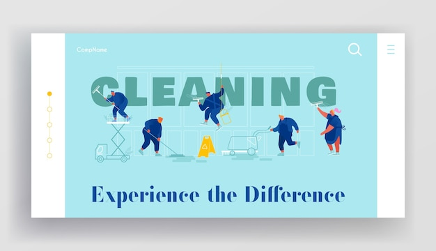 Service of professional cleaners website landing page. male and female characters in uniform with equipment cleaning mopping vacuuming rubbing floor web page banner. cartoon flat