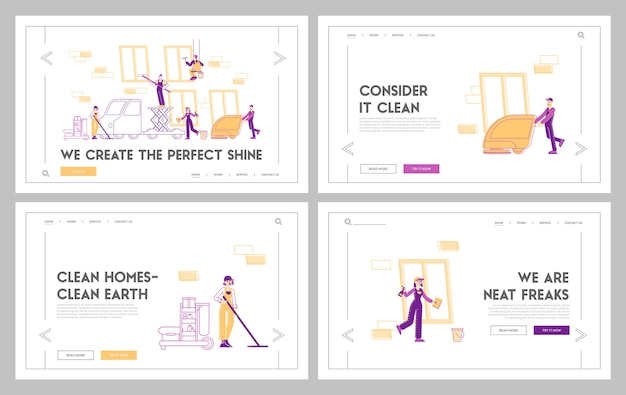 Service of professional cleaners work landing page template set
