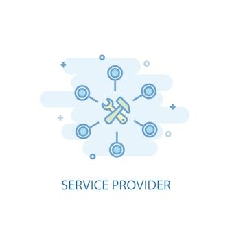 サービスプロバイダーラインの概念。シンプルな線のアイコン、色付きのイラスト。サービスプロバイダーのシンボルフラットデザイン。 ui / uxに使用できます