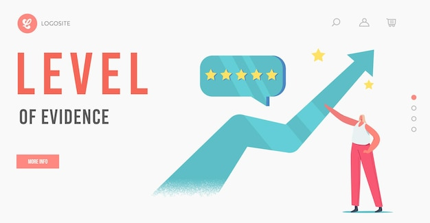 And service quality growth and improvement landing page template. tiny female character stand at huge growing arrow with five stars quality level customer feedback bubble. cartoon vector illustration