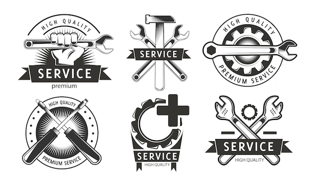 Service, repair set of labels or logos.