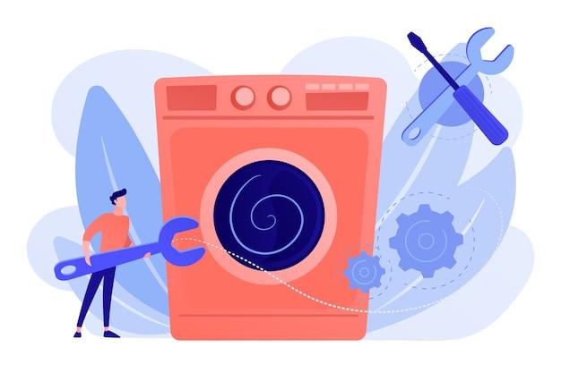 洗濯機を修理する大きなレンチを持ったサービス修理工。家電製品の修理、スマートテレビサービス、家庭用マスターサービスのコンセプト
