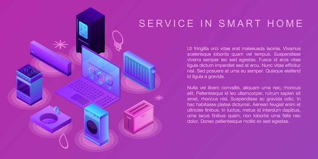 Service in smart home concept banner, isometric style
