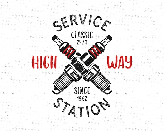 Service station emblem design in retro style